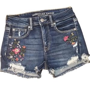 American Eagle Embroidered Hi-Rise Shortie Shorts